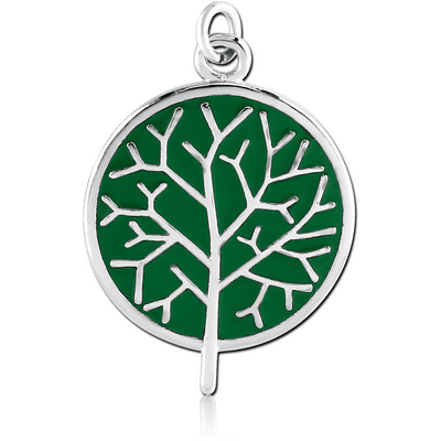 RHODIUM PLATED BRASS CHARM WITH ENAMEL - TREE ON GREEN BACKGROUND