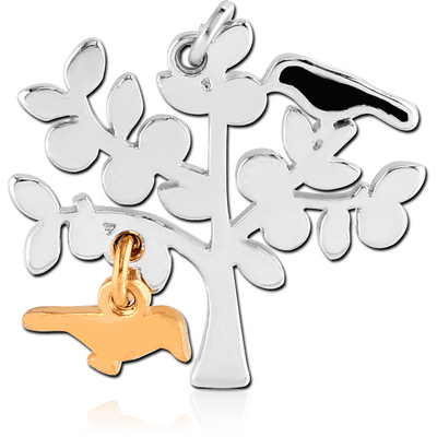 RHODIUM PLATED BRASS CHARM WITH ENAMEL - BIRD ON TREE AND GOLD PVD COATED BIRD DANGLING