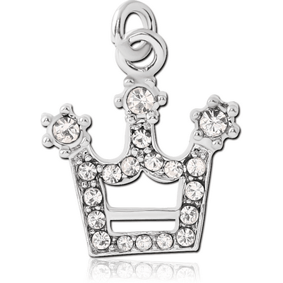 RHODIUM PLATED BRASS JEWELLED CROWN CHARM