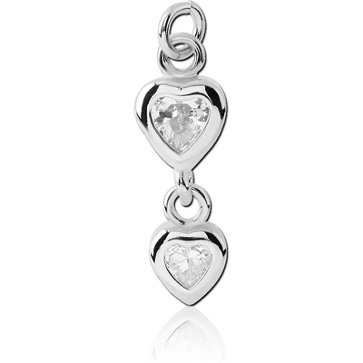 RHODIUM PLATED BRASS DOUBLE JEWELLED HEART CHARM