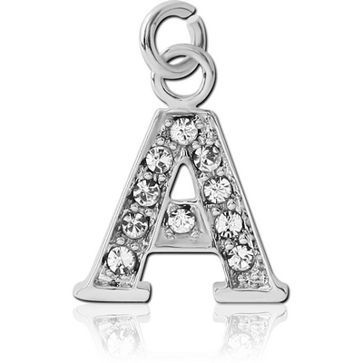 RHODIUM PLATED BRASS JEWELLED LETTER CHARM - A