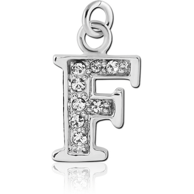 RHODIUM PLATED BRASS JEWELLED LETTER CHARM - F