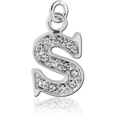 RHODIUM PLATED BRASS JEWELLED LETTER CHARM - S