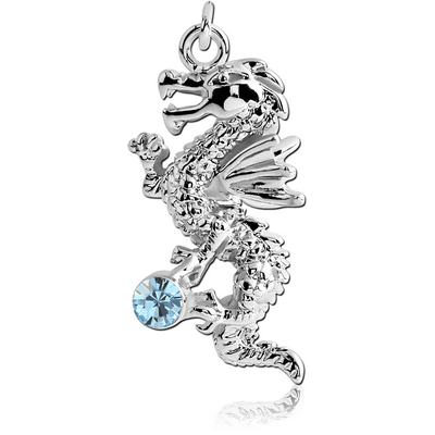 RHODIUM PLATED BRASS JEWELLED DRAGON CHARM
