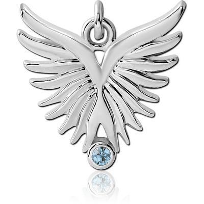 RHODIUM PLATED BRASS JEWELLED CHARM - WINGS