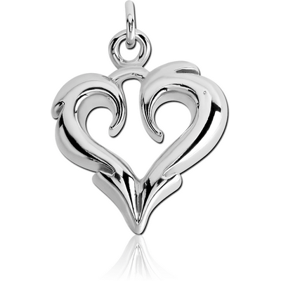 RHODIUM PLATED BRASS CHARM - POINTY HEART