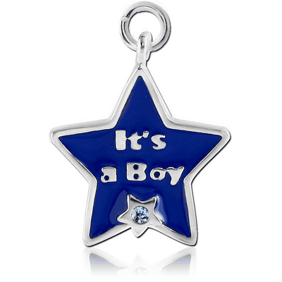 RHODIUM PLATED BRASS JEWELLED CHARM WITH ENAMEL - ITS A BOY