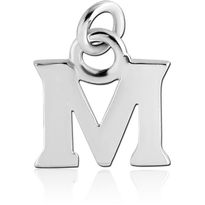 RHODIUM PLATED BRASS LETTER CHARM - M