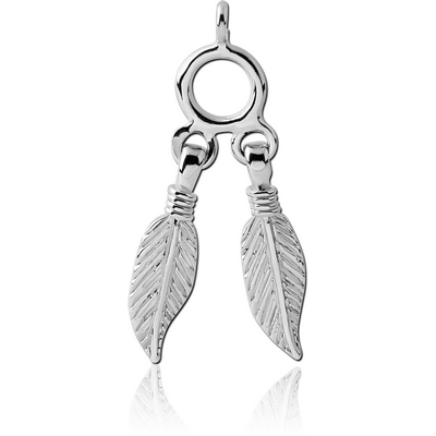 RHODIUM PLATED BRASS FEATHERS CHARM