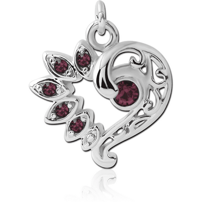 RHODIUM PLATED BRASS JEWELLED CHARM - FANCY HEART