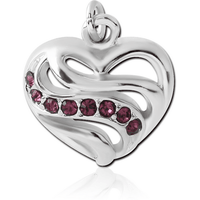 RHODIUM PLATED BRASS JEWELLED CHARM - HEART