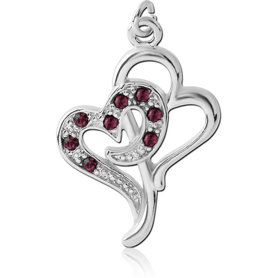 RHODIUM PLATED BRASS JEWELLED CHARM - TWO HEARTS