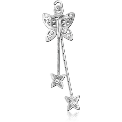 RHODIUM PLATED BRASS JEWELLED BUTTERFLY DANGLING CHARM