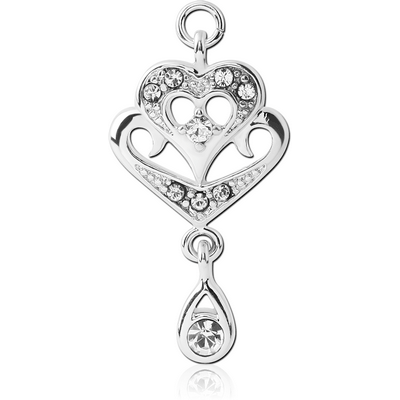 RHODIUM PLATED BRASS JEWELLED CHARM - HEART WITH DANGLING TEAR