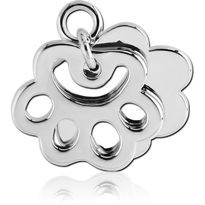 RHODIUM PLATED BRASS CHARM - BRASS KNUCKLES AND SHADOW