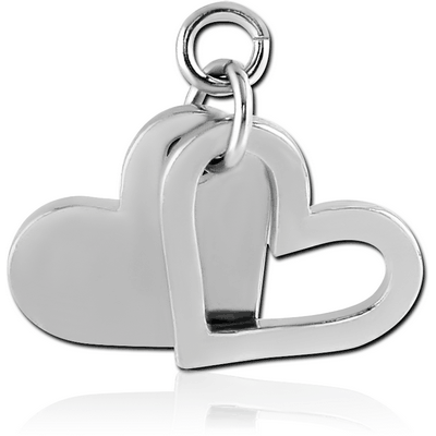 RHODIUM PLATED BRASS CHARM - HEART AND SHADOW