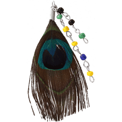 PEACOCK FEATHER CHARM WITH BEADS