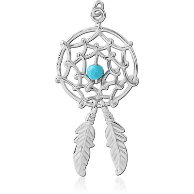 RHODIUM PLATED BRASS CHARM - DREAMCATCHER WITH TWO FEATHERS