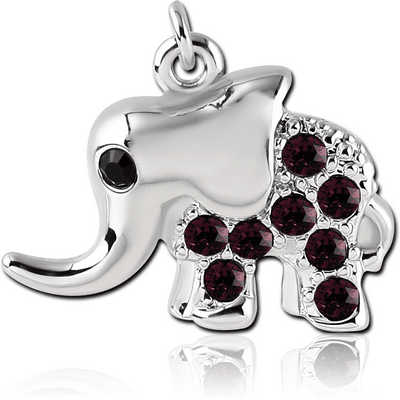 RHODIUM PLATED BRASS JEWELLED ELEPHANT CHARM