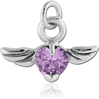 RHODIUM PLATED BRASS JEWELLED WINGED HEART CHARM