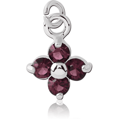RHODIUM PLATED BRASS JEWELLED FLOWER CHARM