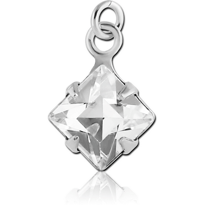 RHODIUM PLATED BRASS SQUARE PRONG SET JEWELLED CHARM