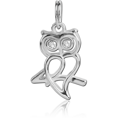 SILVER PLATED WHITE METAL JEWELLED OWL CHARM