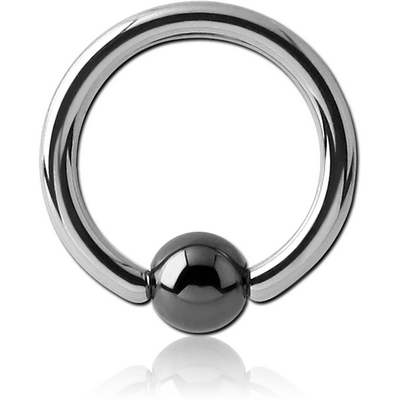 SURGICAL STEEL BALL CLOSURE RING WITH HEMATITE BALL