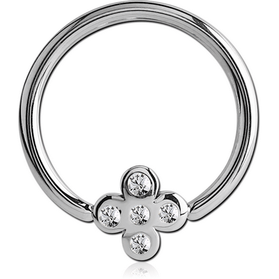 SURGICAL STEEL BALL CLOSURE RING WITH JEWELLED ATTACHMENT - CROSS