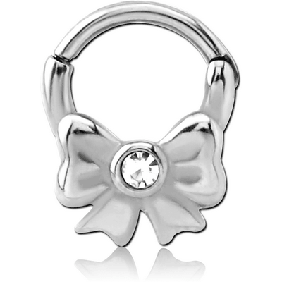 SURGICAL STEEL HINGED BALL CLOSURE RING WITH jewelled ATTACHMENT - BOW