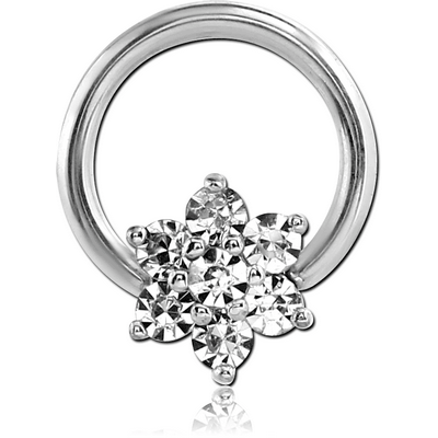SURGICAL STEEL BALL CLOSURE RING WITH PRONG SET JEWELLED ATTACHMENT - STAR