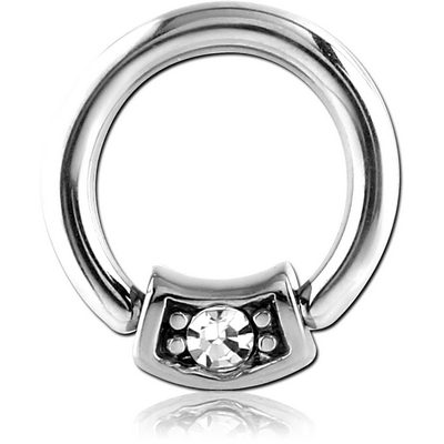 SURGICAL STEEL BALL CLOSURE RING WITH JEWELLED ATTACHMENT