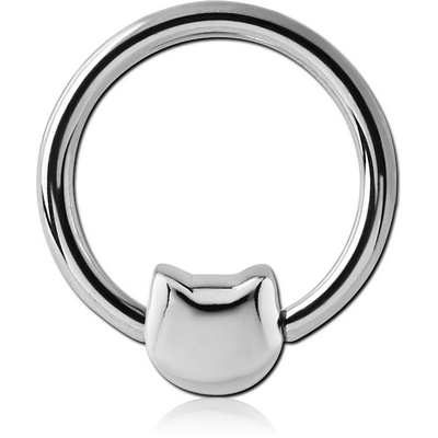 SURGICAL STEEL BALL CLOSURE RING WITH ATTACHMENT - KITTY HEAD