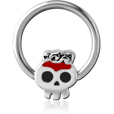 SURGICAL STEEL BALL CLOSURE RING WITH ATTACHMENT WITH ENAMEL - SKULL