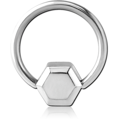 SURGICAL STEEL BALL CLOSURE RING WITH ATTACHMENT - HEXAGON