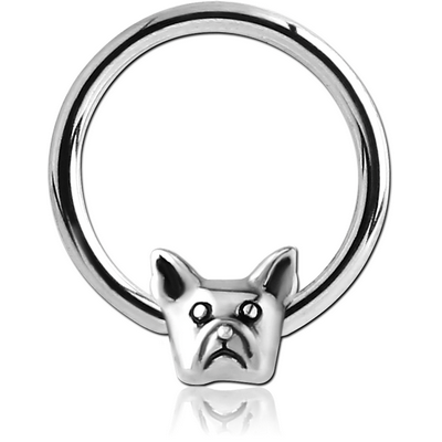 SURGICAL STEEL BALL CLOSURE RING WITH ATTACHMENT - BULLDOG HEAD