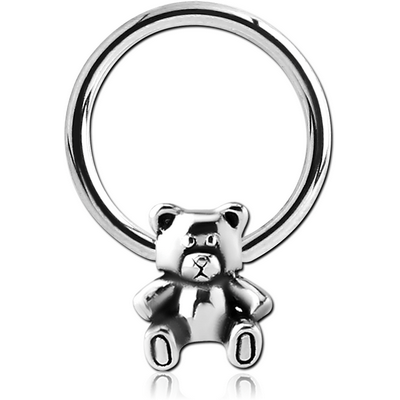 SURGICAL STEEL BALL CLOSURE RING WITH ATTACHMENT - TEDDYBEAR