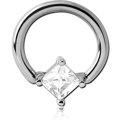 SURGICAL STEEL BALL CLOSURE RING WITH PRONG SET JEWELLED ATTACHMENT - RHOMBUS