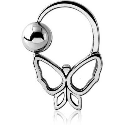SURGICAL STEEL BUTTERFLY SIDE BALL CLOSURE RING