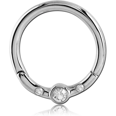 SURGICAL STEEL ROUND JEWELLED HINGED SEGMENT RING