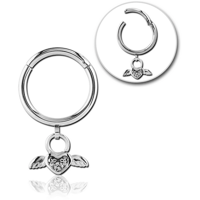 SURGICAL STEEL ROUND PRONG SET JEWELLED HINGED SEGMENT RING