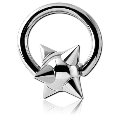 SURGICAL STEEL BALL CLOSURE RING WITH SPIKEY BALL
