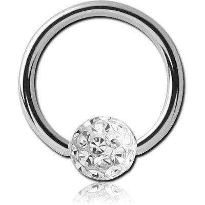 SURGICAL STEEL BALL CLOSURE RING WITH EPOXY COATED CRYSTALINE JEWELLED BALL