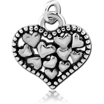 RHODIUM PLATED BRASS CHARM - HEARTS IN HEART