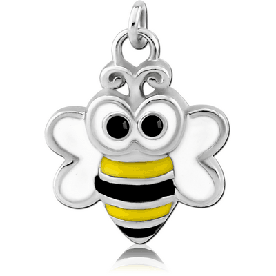 RHODIUM PLATED BRASS JEWELLED CHARM WITH ENAMEL - BEE