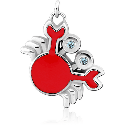 RHODIUM PLATED BRASS JEWELLED CHARM WITH ENAMEL - CRAB