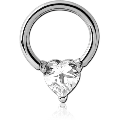 SURGICAL STEEL BALL CLOSURE RING WITH PRONG SET JEWELLED ATTACHMENT - HEART