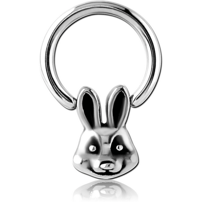 SURGICAL STEEL BALL CLOSURE RING WITH ATTACHMENT - RABBIT HEAD