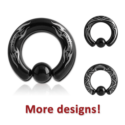 BLACK PVD COATED SURGICAL STEEL LASER ETCHED BALL CLOSURE RING