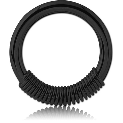 BLACK PVD COATED SURGICAL STEEL SPRING CLOSURE RING